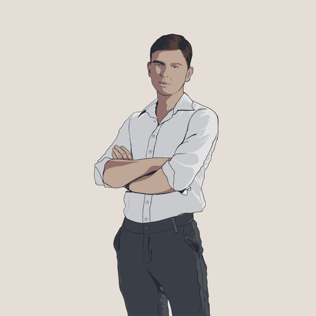 Handsome young adult men in shirt and trousers. Hand drawing illustration with black line art. Man with crossed arms Illustration