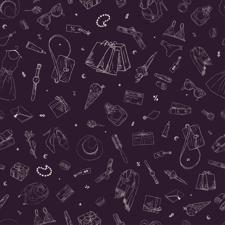 3f726d9d90 A Seamless pattern with shopping icons. Hand drawn background Illustration
