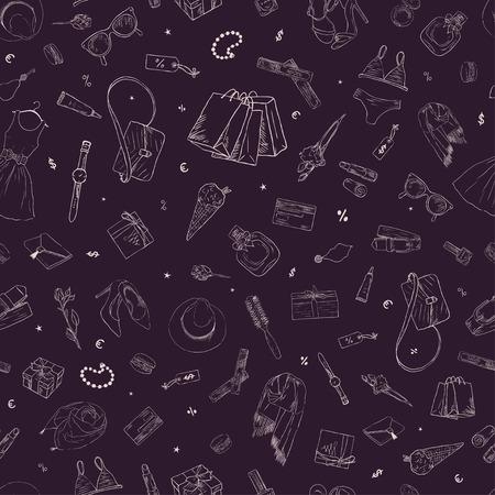 Un modello senza soluzione di continuità con le icone dello shopping. Sfondo disegnato a mano Archivio Fotografico - 90254896