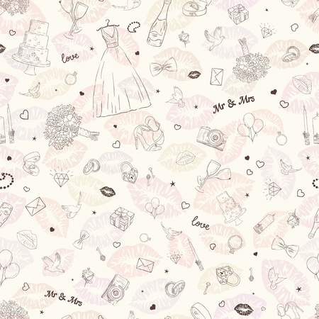 A Seamless pattern background  with wedding icons. marriage ceremonies, bridal items. Hand drawn vector  illustration