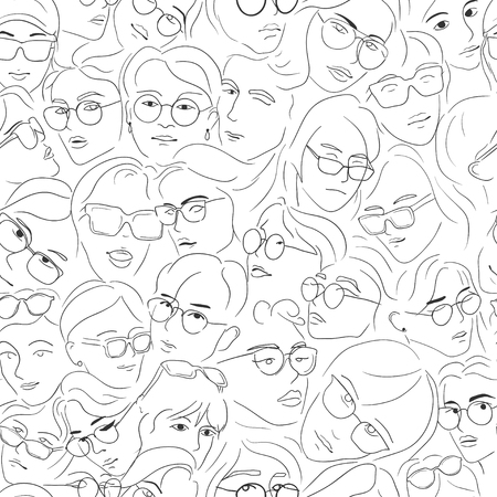 Faces of people in glasses - seamless pattern background. Hand drawn line sketch girls and boys face with sunglasses