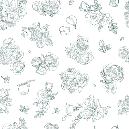 Seamless floral pattern with rose and pear, green line on white. Hand drawn illustration for fabric, wrapping, prints Illustration