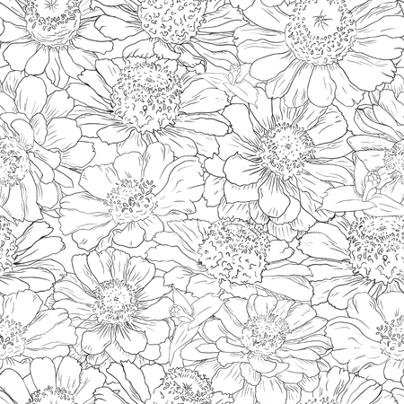 Hand drawn pattern floral background. Flower black line on white. Packaging, fabric, wrapping, prints, cards, wedding