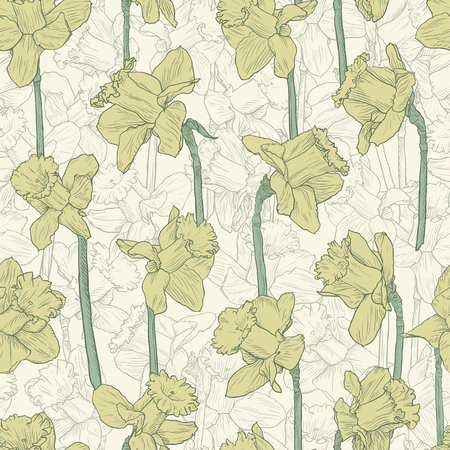 Seamless floral yellow narcissus pattern. Line illustration for fabric wrapping prints wedding design in vintage style