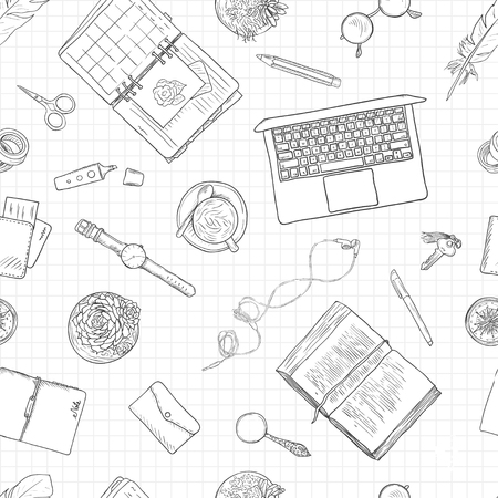 Work notes, background studying, creative lifestyle, planning. Seamless pattern. Black and white line illustration