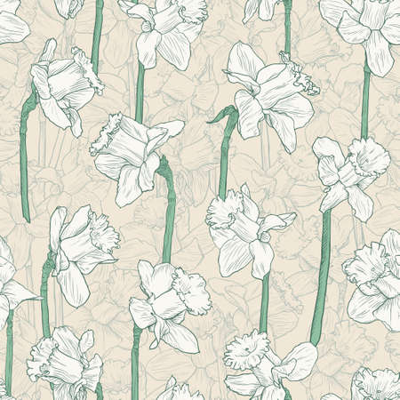 Seamless floral white narcissus pattern. Hand drawn illustration for fabric, wrapping, prints, cards, wedding and other design in vintage style