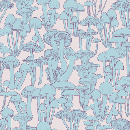 Mushrooms seamless pattern wallpaper. Line illustration blue mushrooms on pink background, vector hand drawn