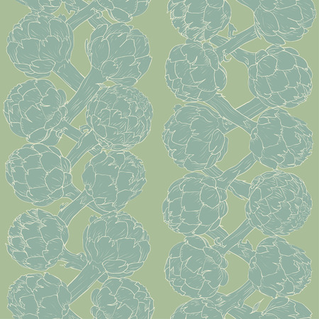 Vegetable artichoke, vegetarian pattern. Seamless nature background. Fresh organic healthy food. Blue artichoke on green background