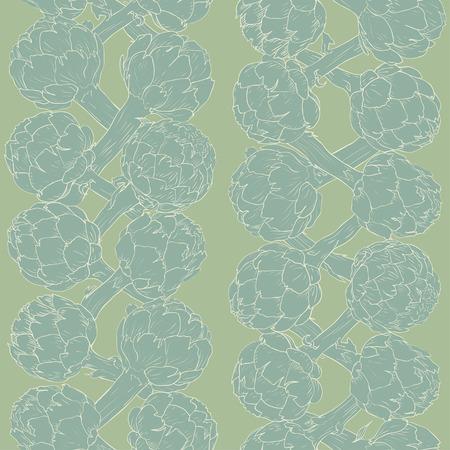 Vegetable artichoke, vegetarian pattern. Seamless nature background. Fresh organic healthy food. Blue artichoke on green background