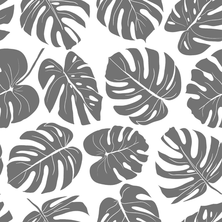 Seamless leaves pattern, gray monstera. Hand drawn illustration for fabric, wrapping, prints, cards, wedding and other design in vintage style