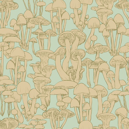 Mushrooms seamless pattern wallpaper. Line illustration beige mushrooms on green background, vector hand drawn
