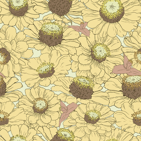 Hand drawn pattern floral background. Flower yellow petals. Packaging, fabric, wrapping, prints, cards, wedding and other design in vintage style
