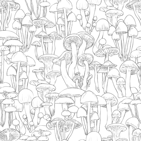 Mushrooms seamless pattern wallpaper. Line illustration black and white mushrooms on background, vector hand drawn