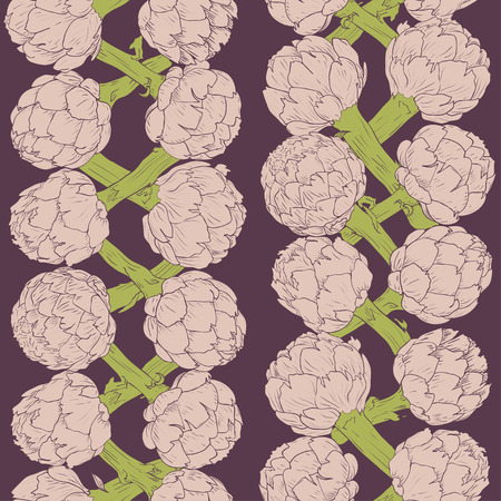 Vegetable artichoke, vegetarian pattern. Seamless nature background. Fresh organic healthy food. Pink artichoke on violet background