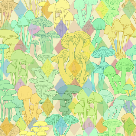 Mushrooms seamless pattern wallpaper. Line illustration multicolor mushrooms psychedelic colorful background, vector hand drawn Illustration