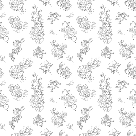 Wildflowers and berries seamless pattern. Gooseberries, strawberries, apples background. Hand drawn vector illustration. Design for vintage packaging, fabric, wrapping, prints and other design in vintage style toile de jouy