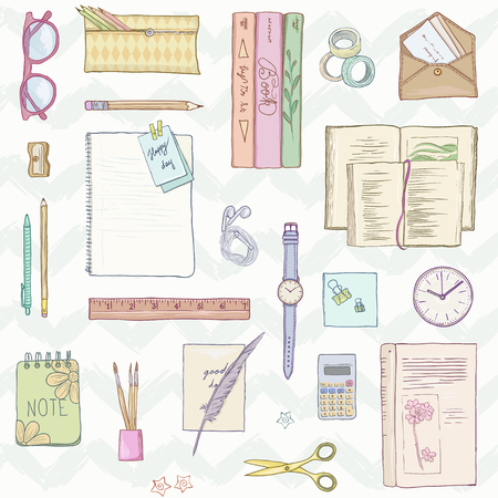 Stationery flat lay, books, elegant background studies, job, creative lifestyle, education, note, freelance job. Seamless pattern. Hand drawn illustration in pastel colors Illustration