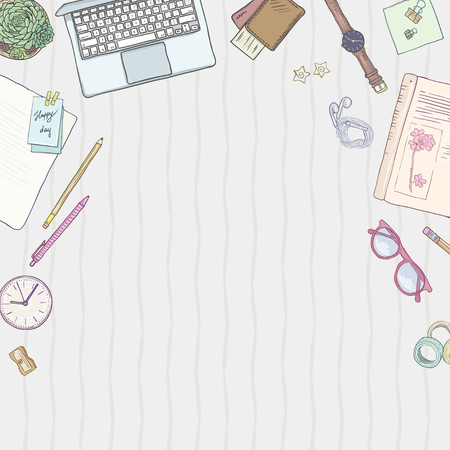 Stationery flat lay, books, elegant background studies, job, creative lifestyle, education, note, freelance job. Seamless pattern. Hand drawn objects set, illustration in pastel colors