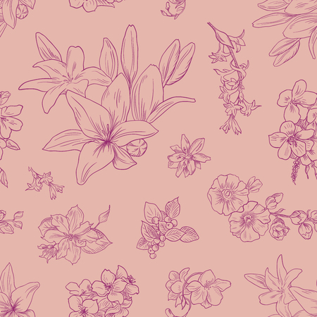 Lily pattern, floral ornament, toile de jouy. Seamless background. Hand drawn illustration for fabric, wrapping, prints and other design in vintage style Illustration