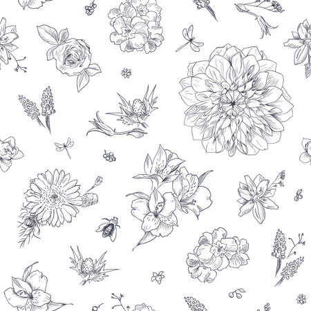 Pattern with floral ornament, toile de jouy. Seamless background. Hand drawn illustration for fabric, wrapping, prints and other design in vintage style