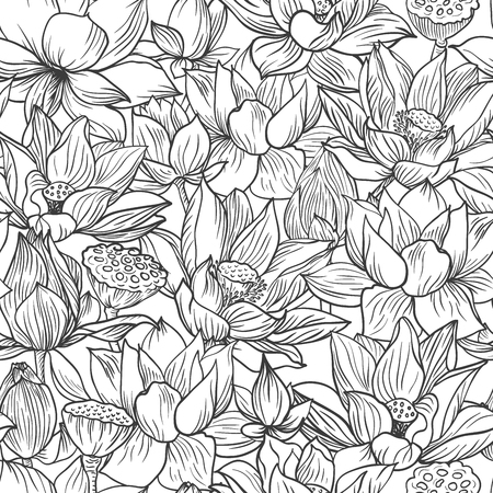 Lotus pattern, line floral ornament. Seamless background. Hand drawn illustration for fabric, wrapping, prints and other design in vintage style Stock Illustratie