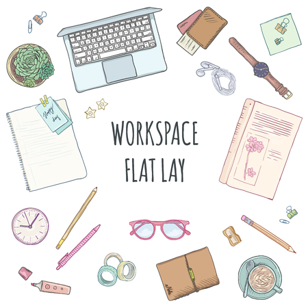 Top view of workplace, office supplies and gadgets. Flat lay view from above. Vector illustration creative study space, book, notebook, pens, glasses Illustration