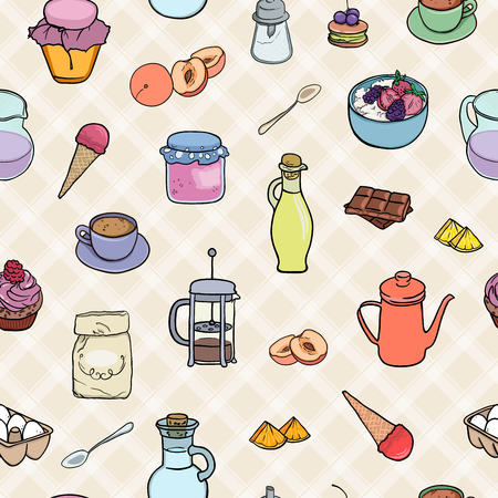 Cooking bakery, sweets, breakfast tea and coffe seamless background. Vector illustration pattern tasty food icons