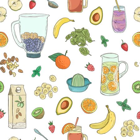 Smoothie natural fruit shake. Superfood health detox diet. Sketch style vector background. Hand drawn summer fruit drink