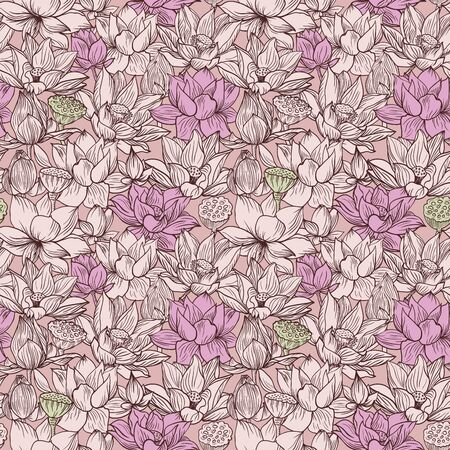 Lotus pattern, line pink floral ornament. Seamless background. Hand drawn illustration for fabric, wrapping, prints and other design in vintage style Illustration