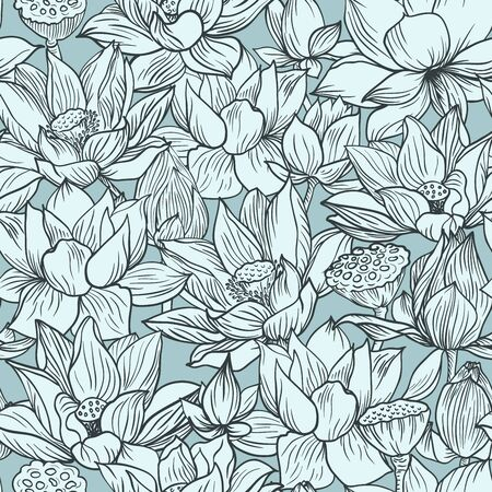 Lotus pattern, line blue floral ornament. Seamless background. Hand drawn illustration for fabric, wrapping, prints and other design in vintage style