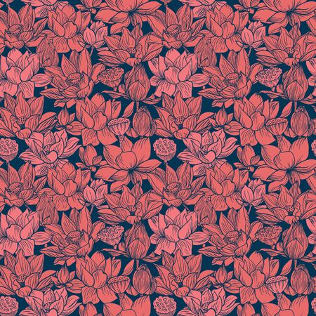 Lotus pattern, line red floral ornament. Seamless background. Hand drawn illustration for fabric, wrapping, prints and other design in vintage style Illustration