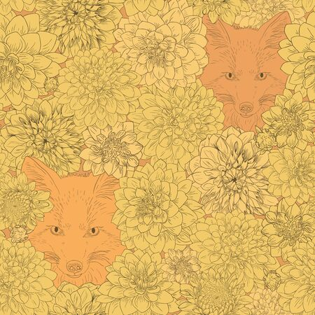 Dahlia pattern, floral ornament, fox in flowers. Seamless background. Hand drawn illustration for fabric, wrapping, prints and other design in vintage style