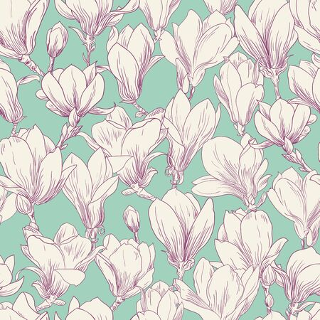 Magnolia pattern, line floral ornament. Seamless background. Hand drawn illustration for fabric, wrapping, prints and other design in vintage style, green, white flower Illustration