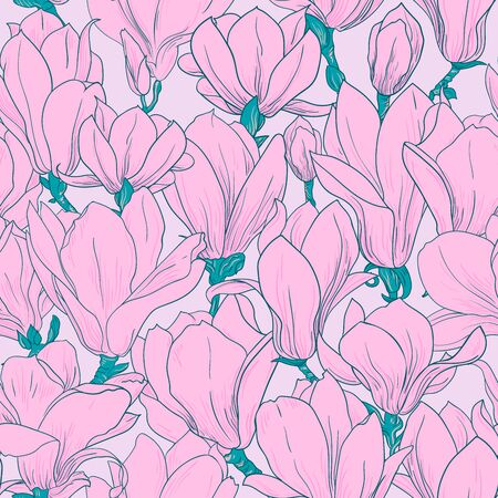 Magnolia pattern, line floral ornament. Seamless background. Hand drawn illustration for fabric, wrapping, prints and other design in vintage style, turquoise and pink