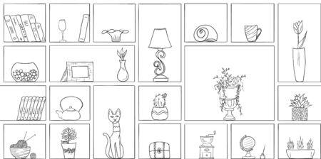 Hand drawn book shelves seamless pattern background black white outline