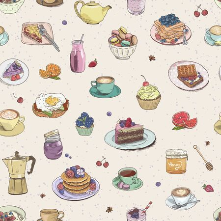 Seamless background Hand drawn coffee, tea, sweets pattern. Illustration delicious elements. Breakfast Food Drinks Cake