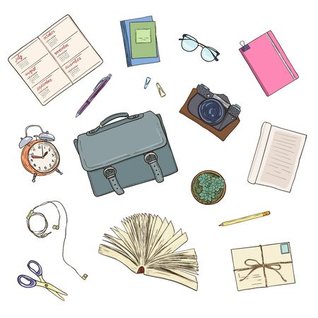 Top view of workplace, office supplies and gadgets. Flat lay view from above. Vector illustration creative study space, book, notebook, pens, glasses, books