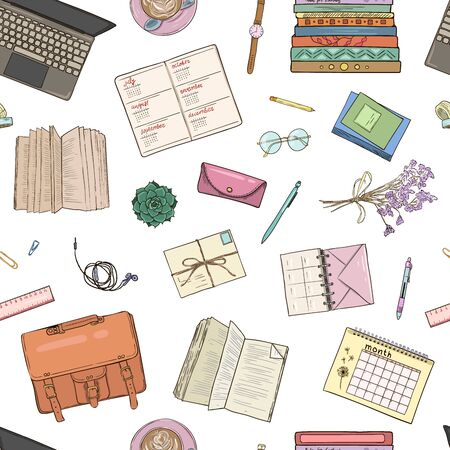 Top view of workplace, office supplies and gadgets. Flat lay view from above. Vector illustration creative study space