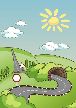 country road: Rural road. Sunny summer day with clear skies. Small clouds. Two-way traffic with a dividing strip and road signs