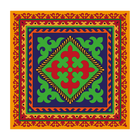 nomad: Napkinshawl with colorful ornaments common rich Asian countries (Kyrgyz  Kazakh  ethnicity). Multicolored patterns. At the edge of the square wave ornaments, flowers (tulip) Illustration