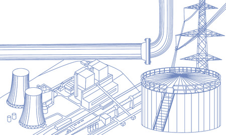 destructive: Industrial buildings: power line, tank, pipe, nuclear power plant, scheme. All objects in thin blue lines Illustration