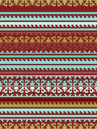 carnero: Sin fisuras patr�n  fondo bufanda con los ornamentos de Kirguist�n  kazajos. El ornamento de flores y un motivo de tulip�n. El simbolismo de la cabeza, los cuernos, carnero y toro en los pueblos n�madas nacional ornamento Vectores