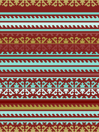Seamless patternscarf background with the Kyrgyz Kazakh ornaments. The ornament of flowers and a tulip motif. The symbolism of the head, horns, ram and bull in the national ornament nomadic peoples