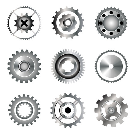 circular saw: Set of gears, circular saw, bearing. Gradient icons