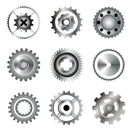 circular saw: Set of gears, circular saw, bearing. Gradient icons