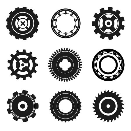 circular saw: Set of gears, circular saw, bearing. Black and white icons