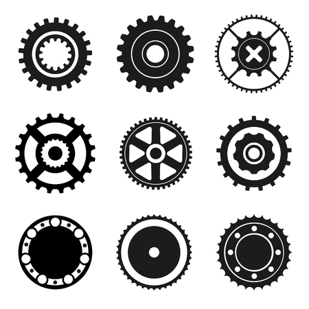 circular saw: Set of gears, circular saw, bearing. Black and white icons