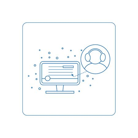 piktogramm: Line style piktogramm of computer symbols - remote connection to your computer. Symbols for web. Button of business report. Isolated on background and easy to use. Perfect icon your site.