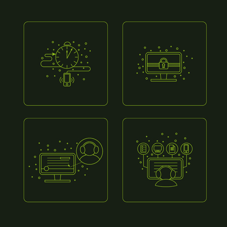 pictogramm: Set of pictogramm of computer symbols. Bright  green line pictures on the dark black background. Stylish icons for your business