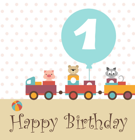 birthday train: Greeting card for baby album. Happy birthday. Colorful train carries toys, kindly and funny animals: pig, teddy-bear, kitten. By train attached turquoise ball with the inscription.